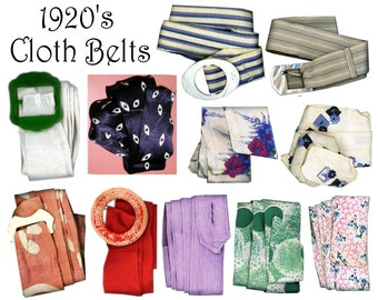 1920's Dress Belts Cloth     Some With Buckles