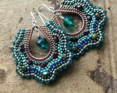 Silver Teardrop Earrings, Jewel Tone Seed Beads With Teal Dangle Accents