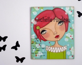 Original Mixed Media Hot Pink Hair Girl Painting On Wood