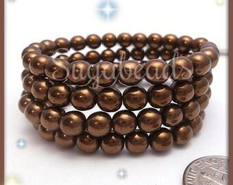25 Czech Glass Beads Metallic Bronze 6mm, Brown Czech Druk Beads CZN61