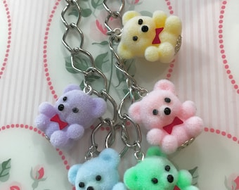 Fuzzy Baby Bunny or Teddy Pastel Flocked Figure Charm Necklace