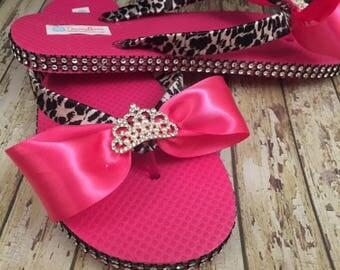 SKD Hot Pink & Leopard Flip Flops Hot pink Sandals Bachelorette Flip Flops Leopard Sandals Shoes Custom Wedding Flip Flops Custom Sandals