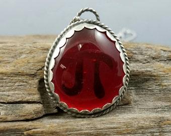 Cherry Pi vintage glass and argentium pendant