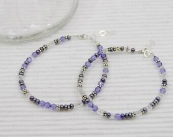 Crystal, pearl & silver bracelet