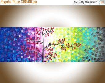 """Rainbow color love birds painting contemporary Wall art wall decor wall hanging hom4 office canvas art """"Centre of My Heart"""" by qiqigallery"""