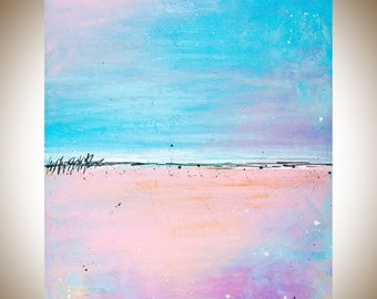 """Contemporary wall art Colorful Abstract blue pink magenta seascape wall art canvas art acrylic painting """"Lovely"""" by QIQIGALLERY"""