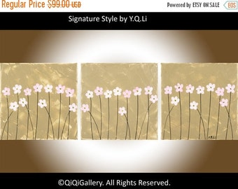 """Colorful art pink flowers art nursery wall art acrylic painting on canvas """"Pink Delight"""" By qiqigallery"""