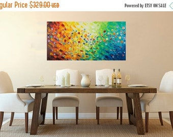 """Abstract art Rainbow color red yellow Orange green blue purple painting abstract large canvas wall art wall decor""""Celebration""""by qiqigallery"""