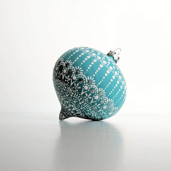 Winter Wonderland Glass ornament: hand painted Onion shaped glass ornament dot Painting blue and white painted ornament