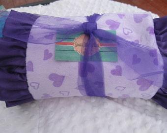 "SALE  BabyGirl double minky Blanket 30"" X 36""  lavendar and purple"
