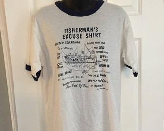 Vintage Screen Stars Fisherman's Excuse Shirt 1980s ringer tee white 50/50