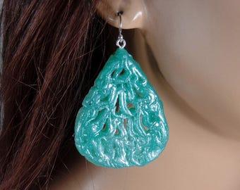 Polymer clay dangle earrings, jade