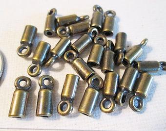Tube End Caps, 13x5mm Cord End, 2mm Hole, Metal Casting Cord Terminator, Antique Bronze, Glue On Cap - bm186