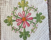 ANTIQUE QUILT BLOCK, trapunto appliqué, late 1800s, vintage quilting, hand made, sewing, ooak