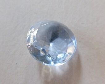 Vintage CzechLight Blue 18mm Faceted Round Glass Gem Jewel (2)