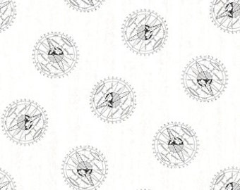 ENCYCLOPEDIA GALACTICA ORBIT White Mathematical Planet Illustration Quilt Fabric - by the Yard, Half Yard, or Fat Quarter Fq by Suite 1500