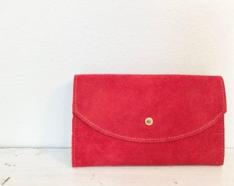 Vintage Red Suede Leather Checkbook Style Wallet