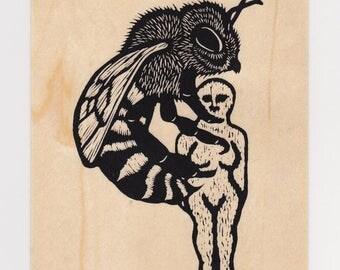 Bee & Wax Poppet screen print wood veneer card
