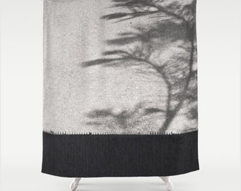 Fabric Shower Curtain, Grey and White Speckle Texture and Graphic Cement Sidewalk with Tree Branch Cast Shadows