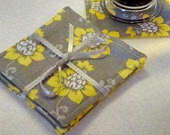 Mug Rug Set of 4, YELLOW on GRAY, Fabric Coasters, Handmade, Hostess Gift, FREE Shipping in USet