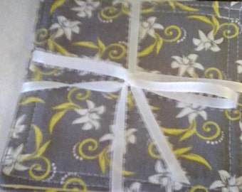 Mug Rug Set of 4, GRAY, Yellow, White, Fabric Coasters, Handmade, Hostess Gift, FREE Shipping in USet