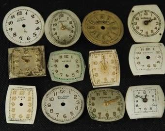 Vintage Antique Watch Dials Steampunk Faces Parts O 75