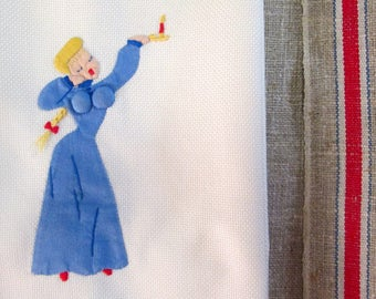 Vintage Towel for Guest Hand Towel Risque Pin Up Embroidery Applique Naughty Lady in Blue Candle Antique Bed and Bath Linens Gifts Him Her