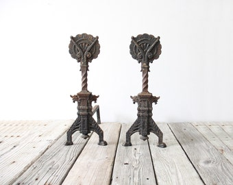 Antique Primitive Cast Iron Andirons