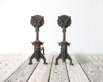 Antique Primitive Cast Iron Andirons
