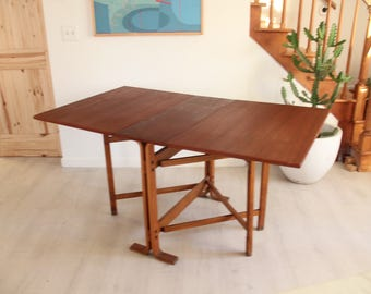 Rosewood Gateleg Folding Dining Room Table Kleppe Mobler Danish Modern