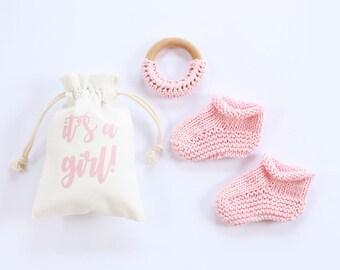 Girl baby announcement, gender reveal, baby girl, pink, newborn booties, pregnancy announce, pregnancy reveal, baby announcement