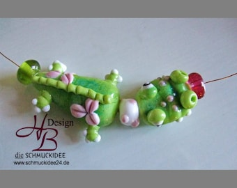 Little flower thief, summer beads,Lentil Beads, Lampwork, Fokal,SRA