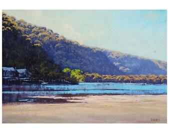 Patonga Beach Painting Large Original oil  Impressionist Beach Wall Art