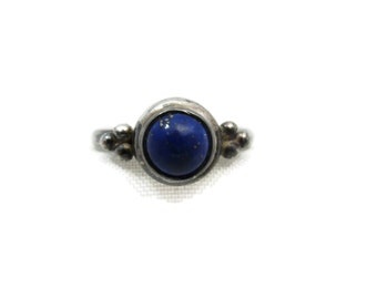 Sterling Lapis Ring - Silver, Boho Jewelry, Stack Ring