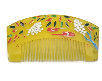 Painted Lucite Comb - Asian, Yellow