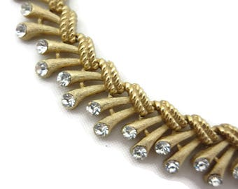Trifari Necklace - Rhinestone and Gold Tone Fringe - 1960s Mid Century Modern Costume Jewelry