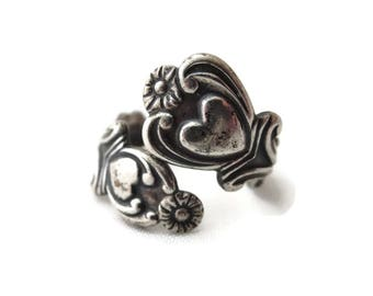 Sterling Spoon Ring - Silver Heart Wrap Ring, Avon