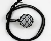 Selenite Crystal Ball Black Satin Cord Wrapped Healing Necklace