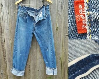 "Vintage Levi's Jeans //  Vtg 70s 80s LEVI'S 501 Selvage Black Bar Distressed Indigo Denim Jeans  //  33"" waist"