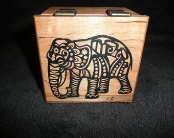 Maple wood Music Box with Elephant