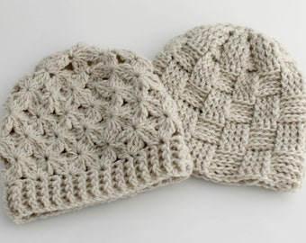 His And Hers Hats. Flower. Basketweave.