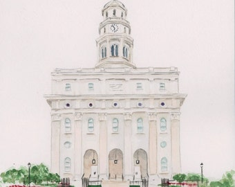 Nauvoo Illinois Temple Watercolor Print