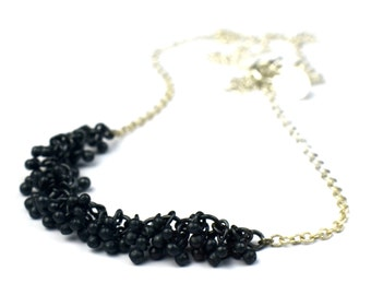 "Black silver necklace, sterling silver droplets, black silver bib necklace, oxidised silver, 16"" or 18"" length, gift for women"