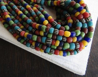 small mixed matte seed bead,  ethnic glass bead, irregular barrel tube spacer, New Indo-pacific 3 to 6 mm / 22 inche strand - 6CB10-3