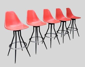 atomic MID CENTURY MODERN fiberglass shell bar stools
