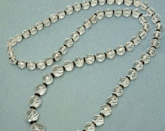 Vintage Art Deco Multi Faceted Crystal Bead Necklace