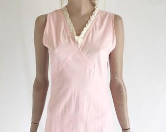 Vintage 40's Cotton Slip Dress/ Negligee. Size X Small