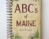 Journal, Notebook, Vintage Book Journal, Sketchbook, Notebook, Blank Book, Recycled, Sketch Book, ABC's of Maine, Maine Alphabet Images