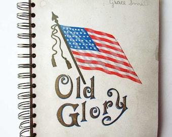 Journal, Recycled Book Journal, Vintage Book Journal, Sketchbook, Notebook, Junk Journal,  Smash Book, Old Glory, US Flag