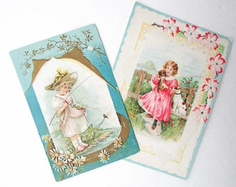Two Antique Greeting Card, c 1900, Blank Cards, Girls, Pets, Bird, Gift Cards, Valentine Cards, Romantic Cards, Paper Ephemera